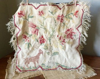 Set of two shabby samplers needleworks cross stitch needlepoint - mid century pillow toppers  cat floral kitty tree of life victorian deer