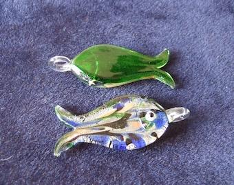 Green Fish Lampwork Glass Pendant