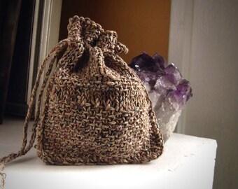 Earthy cinnamon rune bag / rune pouch / drawstring rune bag / oracle bag / dice bag / rustic pagan / rustic rune bag / pendulum bag