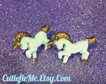 Pastel Mint Unicorn Pony Stud Earrings