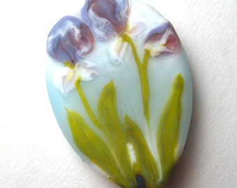 Lampwork Glass Focal Bead, PURPLE IRIS GARDEN, Unique Artisan Crafted pendant like a watercolor painting in glass sra