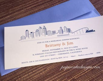 Rehearsal Dinner Invite / City Skyline Chicago San Francisco San Diego /  Welcome Party Invitation Anniversary