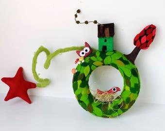 Spring wreath,  Wreath for indoor, Decorative felt wreath, Children's room, Kids decor, Handmade gift, Felt ornament, baby shower gift