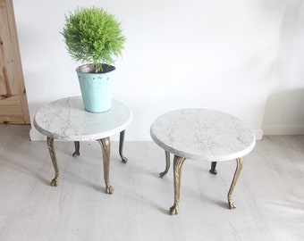 Modern Marble & Brass Side Tables (Set of 2)