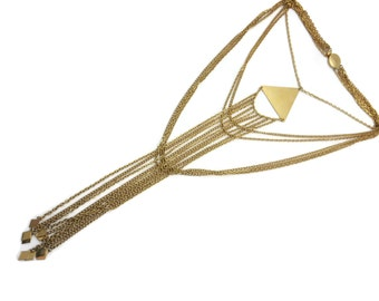 Gold Multi Chain Statement Necklace - Runway Waterfall Necklace, Long Large, Triangle Diamond Fringe, Costume Jewelry