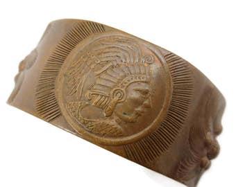 Copper Bracelet- Bangle, Copper Jewelry, Cuff Bracelet, Mexico Mayan, Boho 1970s, Adjustable
