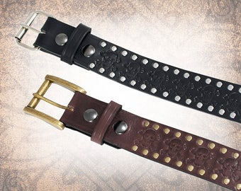 Skull & Crossbones Belt - Black Leather Belt, Leather Belt, Mens Leather Belt, Women's Leather Belt, Genuine Leather Belt, Belt