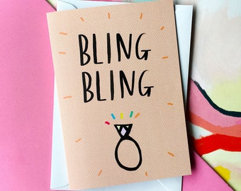 BLING BLING engagement card cc223 congratulations wedding engaged