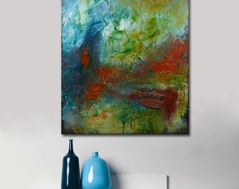 Abstract painting red green and blue, Original Abstract Painting Blue textural Painting Sculpted Textured Painting Abstract large painting