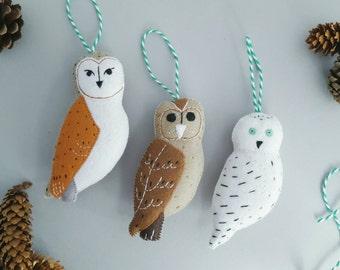 felt owl decorations- set of 3 handmade felt snowy owl, barn owl and tawny owl - alternative baubles