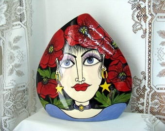 Ceramic Vase Red Poppies with Beautiful Lady's Face & Star Earrings Impressionistic Hand painted Triangle Shaped  on Etsy