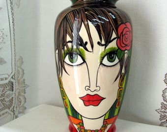 Ceramic Flower Vase Hand Painted Fashionable Female Faces Brunette with Coral Rose, Blonde with White Daisy Green Striped Background on Etsy