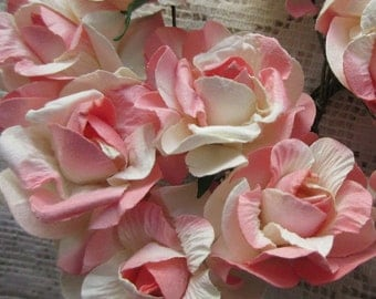 Paper Flowers 12 Curly Millinery Roses Peach & Ivory