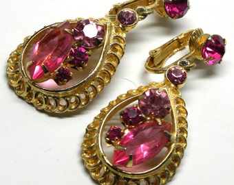 Enthralling JULIANA Vintage Teardrop DANGLE EARRINGS Caged Layered Orchid Fuschia Hot Pink Rhinestone Edwardian Style