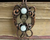 rustic copper pendant Florence faces of the past series LONS OOAK origianl handmade pendant