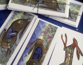Hare Postcards With Envelopes x6/ Spring/Brown Hare/By Karen Davis