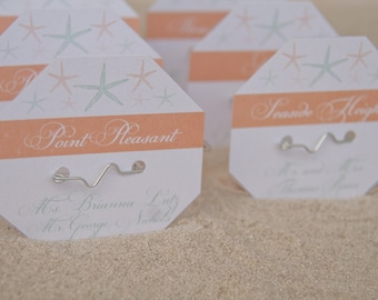 Beach Badge Wedding Place Cards | Beach Tag Starfish Escort Cards | Wedding Seating Cards Deposit