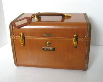Vintage Samsonite Terracotta Train Case Overnight Case Luggage