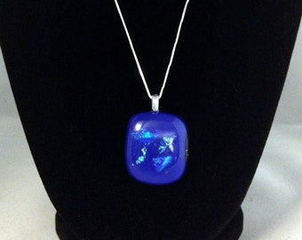 Ocean Blue Dichroic Glass Pendant-Chain Not Included
