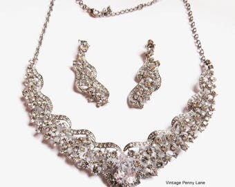 Crystal Rhineston Set, Necklace / Pierced Dangle Earrings / Wedding