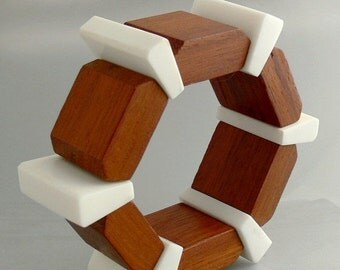 Modernist Teak Stretch Bangle Bracelet