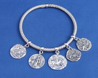 Unique Ancient Artifact Sterling Silver Charm Bracelet, Bangle Charm Bracelet, Sphinx, Pegasus, Owl, Griffin, Goddes of Victory, Bangle