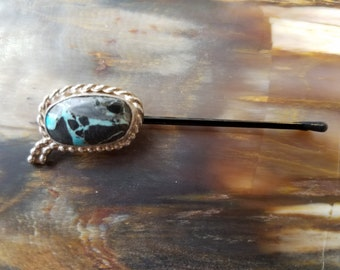 Blue Moon Turquoise and Sterling Silver Hair Pin (Hairpin)