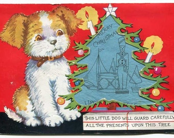 Vintage Large Christmas Card, 1930's Christmas Card, Terrier Dog, Tree Cutout, Toy Pages Inside, Vintage Greeting Card, Holiday Display  Cd