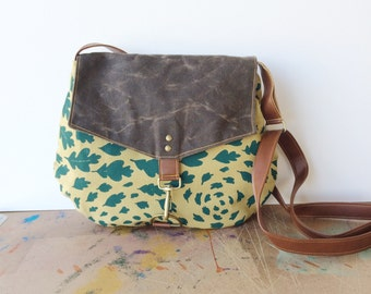 satchel • canvas crossbody bag • hand printed leaf print canvas - teal leaves - waxed canvas - fall style - handmade bag • native