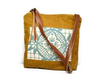 crossbody bucket bag • waxed canvas - large crossbody bag • aqua blue floral geometric print - brown waxed canvas - summer style