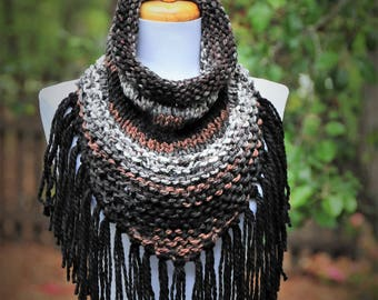 Knit Fringe Cowl, Triangle Scarf Cowl with Fringe, Chunky Fringe Scarf, Knitted Cowl Scarf, Circle Scarf, Women's Scarf, Boho Scarf, Winter
