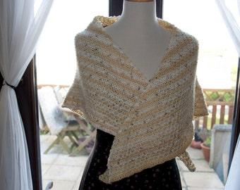 Handknitted Shawl in Beige and Cream