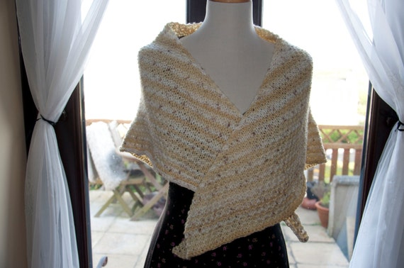 Handknitted Shawl in Beige and Cream