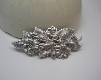 Barrette Hair Clip Large Silver Flower and Leaf on Authentic French Hair Clip Organic Nature Woodland Hair Accessory Leaf Leaves Floral