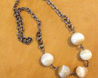 Striped Agate Necklace on gunmetal chain