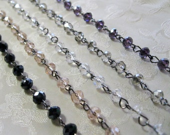 "One Meter 39.5"" Transparent Faceted Rondelle Glass 4 x 6mm Beaded Rosary Link Chain Gunmetal Silver 994"