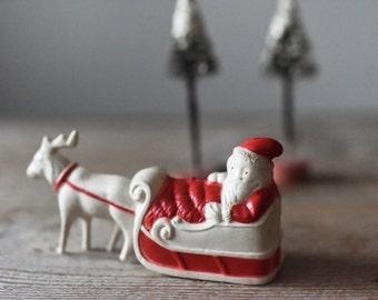 Antique Santa Decoration, Irwin Celluloid Santa With Reindeer, Christmas Decoration, Vintage Santa, Santa Figurine, 1940s Ornament,