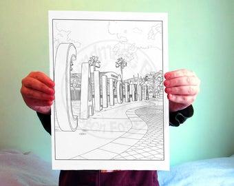 Disneyland Digital Adult Coloring Page - California Adventure Sign - 8x10 - Disneyland Resort