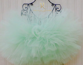 Mint Green Tutu Cake Smash Outfit Birthday Party Flower Girl Aqua Pastel First One Skirt Dress Size 9 12 18 Months Toddler Newborn Adult