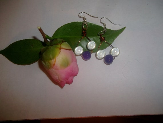 Sterling Silver Dangle Earrings with White Glow Beads and Purple Glass Beads Wire Wrapped Handmade Gift Idea Coworker Friend Stocking Stuff