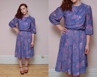 Vintage 70s Draped Purple Floral Print Sheer BOHEMIAN // Flowy Hippie Boho Dress - Size Small Medium