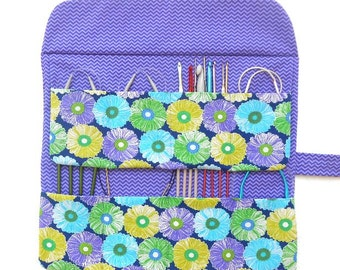Circular Needle Case, Knitting Supply Storage, Purple and Green Floral Double Pointed Needle DPN Holder, Crochet Hook Roll, Knitting Pouch