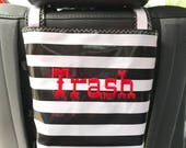 Beth's Oilcloth Stripes Headrest Car Trash Bag Receptacle with Embroidery