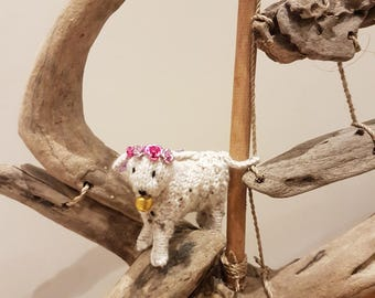 Hand made miniature knitted Spring Lamb
