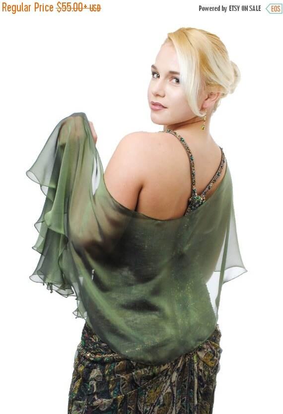 Promo Sale: Evening Silk Chiffon Olive Fluttering Scarf - Wrap