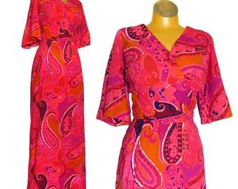 Vintage 1960's Kamehameha Bombshell Hawiian Cocktail Dress Evening Gown / Flutter Sleeves / Bright Pink and Orange