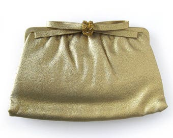 1950s Gold Lame Clutch Decorative Bow Gold Clasp with Rhinestones / After Nine Evening Bag with Change Purse / Glittery Handbag Bride's Bag