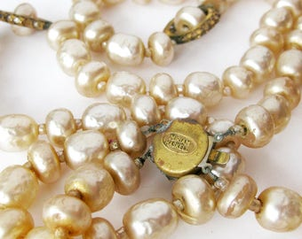 Signed Miriam Haskell Necklace Baroque Pearl Designer Vintage Jewelry Multi Strand Necklace