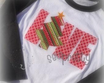 Love Christmas Applique Redwork Embroidery Design