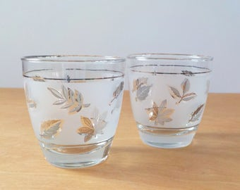 Vintage Libbey Glasses • Silver and Grey Leaf • Mid Century Glasses • Frosted Set of 2 • Rocks Glasses